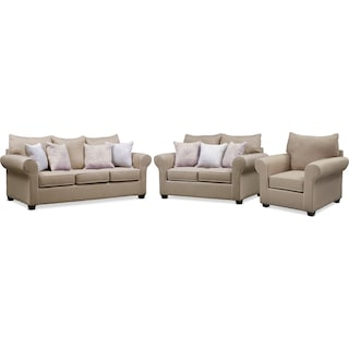 Carla Queen Memory Foam Sleeper Sofa, Loveseat, and Chair Set - Beige