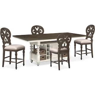 Charleston Counter-Height Dining Table and 4 Scroll-Back Stools - Gray and White