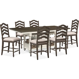 Charleston Counter-Height Dining Table and 6 Stools - Gray and White