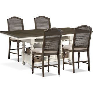 Charleston Counter-Height Dining Table and 4 Cane Back Stools - Gray