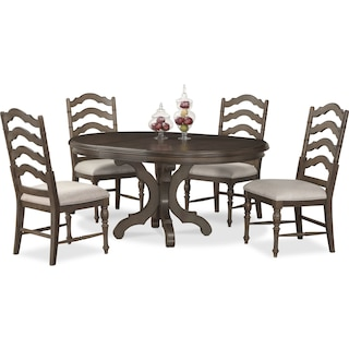 Charleston Round Dining Table and 4 Dining Chairs - Gray