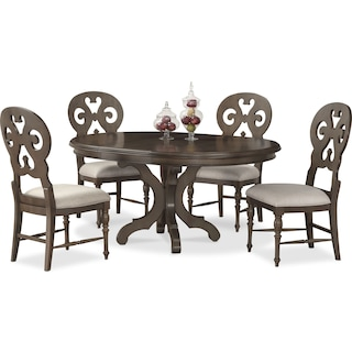 Charleston Round Dining Table and 4 Scroll-Back Dining Chairs - Gray