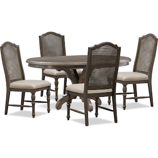 Charleston Round Dining Table and 4 Cane Back Dining Chairs - Gray