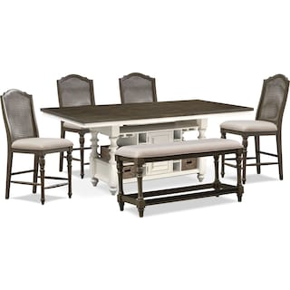 Charleston Counter-Height Dining Table, 4 Cane Back Stools and Bench - Gray