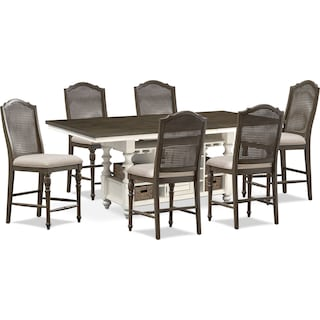 Charleston Counter-Height Dining Table and 6 Cane Back Stools - Gray