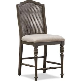 Charleston Cane Back Counter-Height Stool - Gray