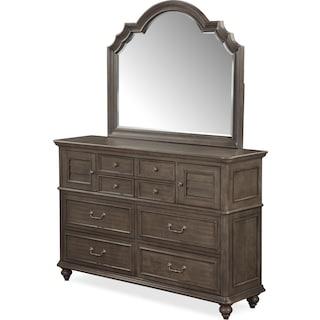 Charleston Dresser and Mirror - Gray