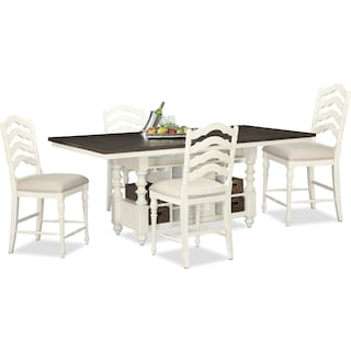 Charleston Counter-Height Dining Table and 4 Stools - Vintage White