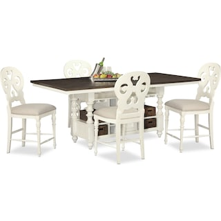 Charleston Counter-Height Dining Table and 4 Scroll-Back Stools - Vintage White
