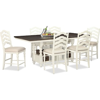 Charleston Counter-Height Dining Table and 6 Stools - Vintage White