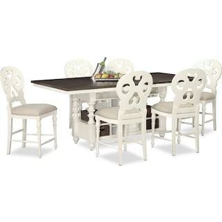 Charleston Counter-Height Dining Table and 6 Scroll-Back Stools - Vintage White