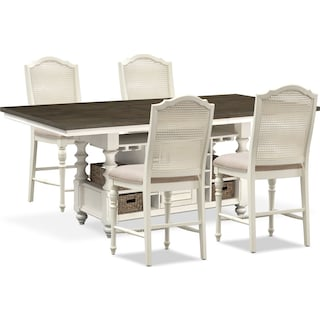 Charleston Counter-Height Dining Table and 4 Cane Back Stools - Vintage White