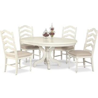 Charleston Round Dining Table and 4 Dining Chairs - Vintage White