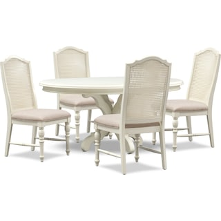 Charleston Round Dining Table and 4 Cane Back Dining Chairs - White
