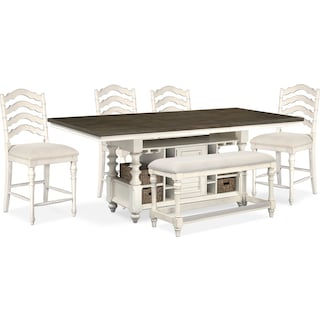 Charleston Counter-Height Dining Table, 4 Stools and Bench - Vintage White