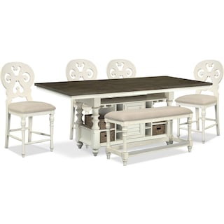 Charleston Counter-Height Dining Table, 4 Scroll-Back Stools and Bench - Vintage White