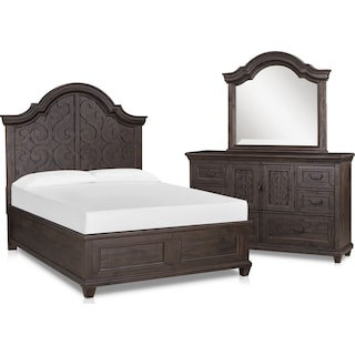 Charthouse 5-Piece King Panel Bedroom Set with Dresser and Mirror - Charcoal
