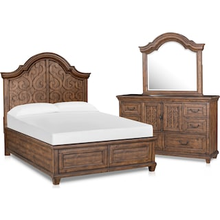 Charthouse 5-Piece Queen Panel Bedroom Set with Dresser and Mirror - Nutmeg