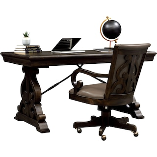 Charthouse Office Desk and Chair Set - Charcoal
