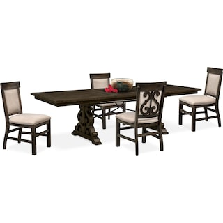 Charthouse Rectangular Dining Table and 4 Upholstered Dining Chairs - Charcoal