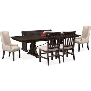 Charthouse Rectangular Dining Table, 2 Host Chairs, 2 Dining Chairs and Bench - Charcoal