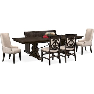 Charthouse Rectangular Dining Table, 2 Host Chairs, 2 Upholstered Dining Chairs and Bench - Charcoal