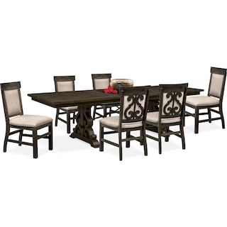 Charthouse Rectangular Dining Table and 6 Upholstered Dining Chairs - Charcoal