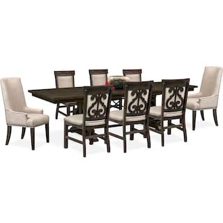 Charthouse Rectangular Dining Table, 2 Host Chairs and 6 Upholstered Dining Chairs - Charcoal
