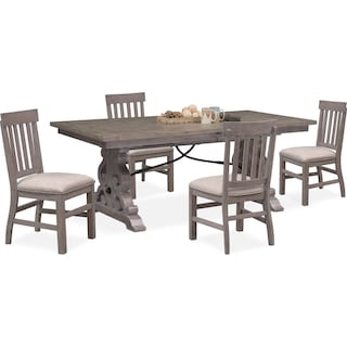 Charthouse Rectangular Dining Table and 4 Dining Chairs - Gray