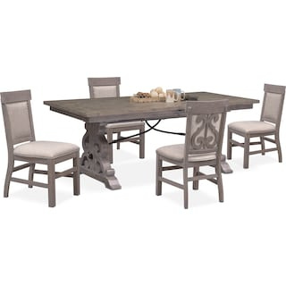 Charthouse Rectangular Dining Table and 4 Upholstered Dining Chairs - Gray