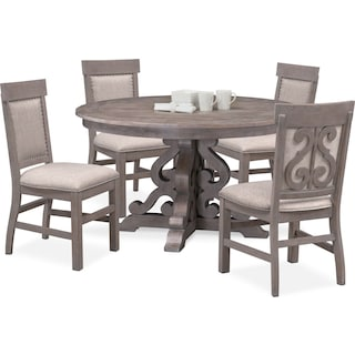 Charthouse Round Dining Table and 4 Upholstered Dining Chairs - Gray