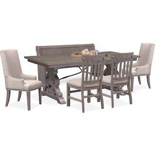Charthouse Rectangular Dining Table, 2 Host Chairs, 2 Dining Chairs and Bench - Gray