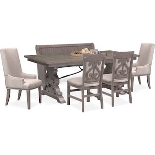 Charthouse Rectangular Dining Table, 2 Host Chairs, 2 Upholstered Dining Chairs and Bench - Gray