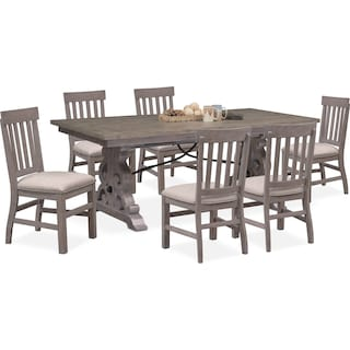 Charthouse Rectangular Dining Table and 6 Dining Chairs - Gray