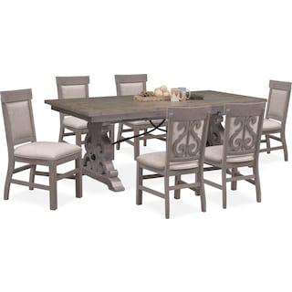 Charthouse Rectangular Dining Table and 6 Upholstered Dining Chairs - Gray