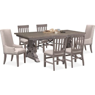 Charthouse Rectangular Dining Table, 2 Host Chairs and 4 Dining Chairs - Gray