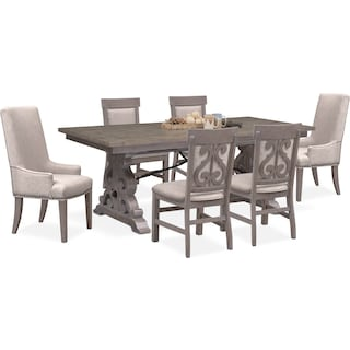 Charthouse Rectangular Dining Table, 2 Host Chairs and 4 Upholstered Dining Chairs - Gray
