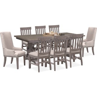 Charthouse Rectangular Dining Table, 2 Host Chairs and 6 Dining Chairs - Gray