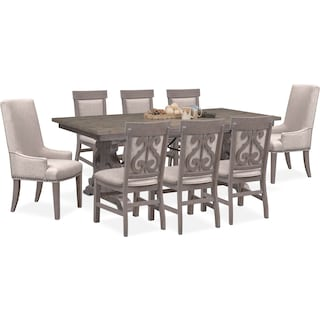 Charthouse Rectangular Dining Table, 2 Host Chairs and 6 Upholstered Dining Chairs - Gray