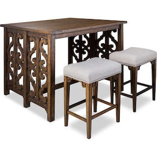 Charthouse Breakfast Bar and 2 Counter-Height Backless Stools - Nutmeg