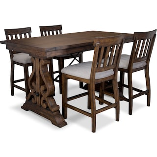 Charthouse Counter-Height Dining Table and 4 Stools - Nutmeg