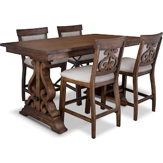 Charthouse Rectangular Dining Table and 4 Upholstered Dining Chairs - Nutmeg