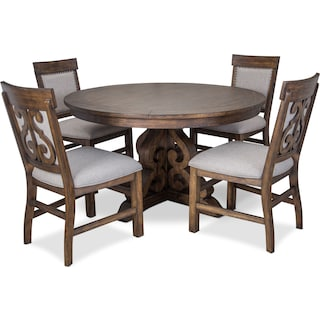 Charthouse Round Dining Table and 4 Upholstered Dining Chairs - Nutmeg