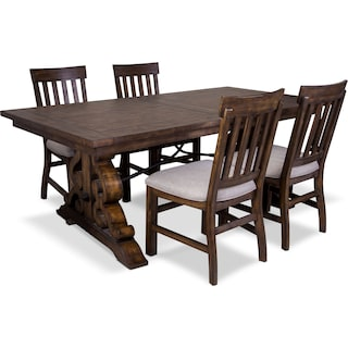 Charthouse Rectangular Dining Table and 4 Dining Chairs - Nutmeg