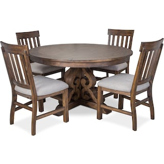 Charthouse Round Dining Table and 4 Dining Chairs - Nutmeg