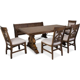 Charthouse Rectangular Dining Table, 4 Upholstered Dining Chairs and Bench - Nutmeg