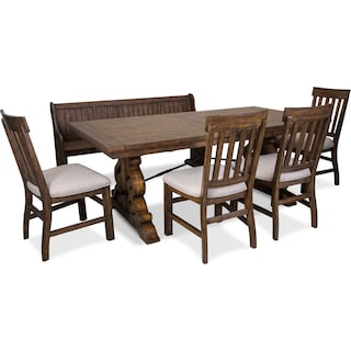 Charthouse Rectangular Dining Table, 4 Dining Chairs and Bench - Nutmeg