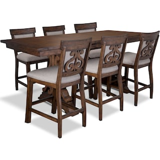 Charthouse Counter-Height Dining Table and 6 Upholstered Stools - Nutmeg
