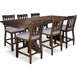Charthouse Counter-Height Dining Table and 6 Stools - Nutmeg