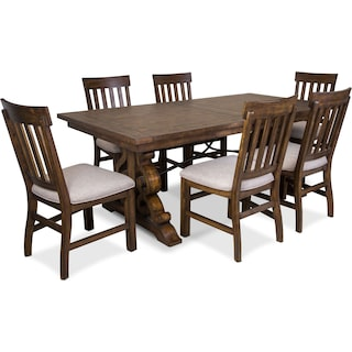 Charthouse Rectangular Dining Table and 6 Dining Chairs - Nutmeg